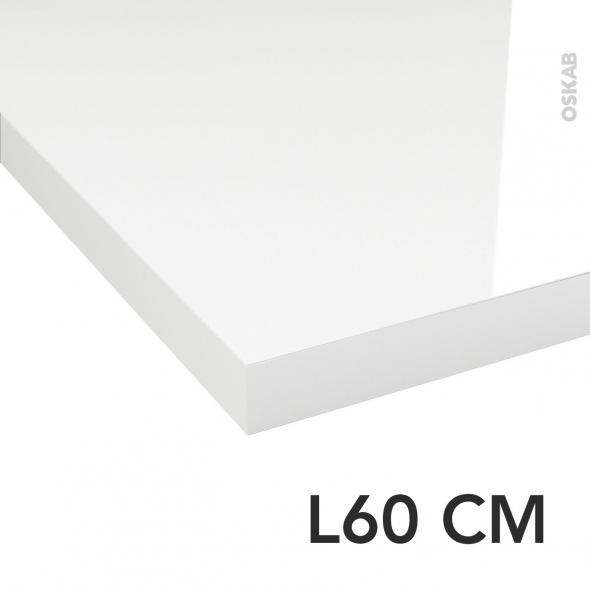 Plan de toilette N°109 - Décor Blanc brillant - Stratifié - Chant coordonné - L60 x P50 x E3,8 cm - PLANEKO