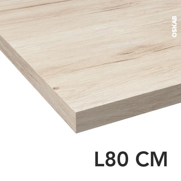 Plan de toilette N°213 - Décor Chêne clair Ikoro - Stratifié - Chant coordonné - L80 x P50 x E3,8 cm - PLANEKO