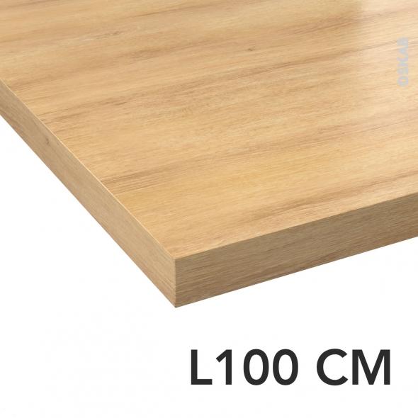 Plan de toilette - Décor Chêne naturel hosta - Statifié - Chant coordonné - L100 x P50 x E4,4 cm - PLANEKO