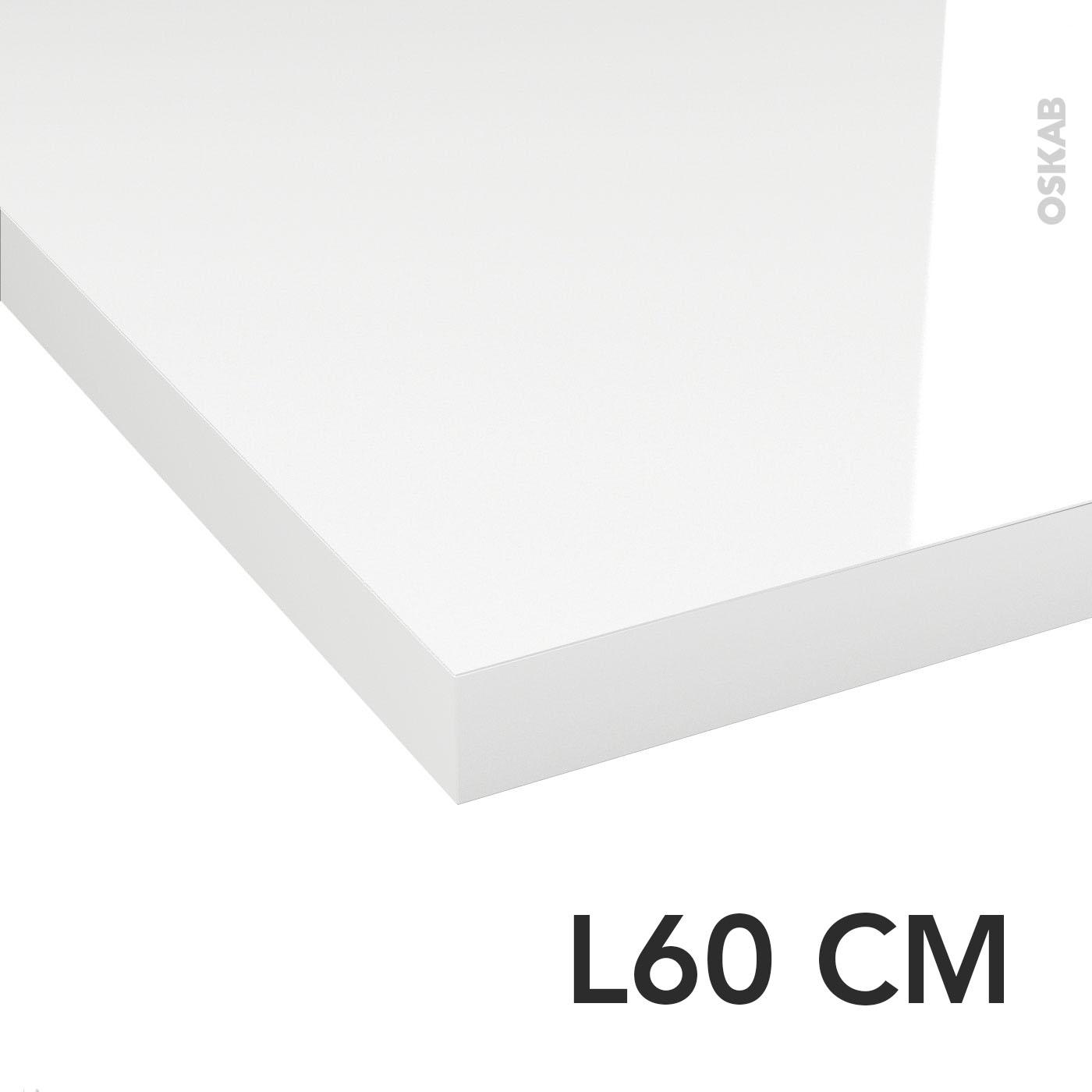 Plan De Toilette Hydrofuge plan de toilette n°109 décor blanc brillant stratifié, chant coordonné, l60  x p50 x e3,8 cm, planeko
