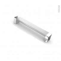 Poignée de meuble - Salle de bains N°10 - Alu mat avec embout chromé - 17,1 cm - Entraxe 160 mm - HAKEO