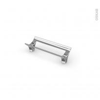 Poignée de meuble - Salle de bains N°15 - Chromé - 10,6 cm - Entraxe 96 mm - HAKEO