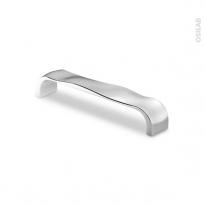 Poignée de meuble - Salle de bains N°21 - Chromé brillant - 13,6 cm - Entraxe 128 mm - HAKEO