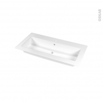 Plan vasque - NAJA - Céramique blanche - Pour salle de bains - L100,5 x P50,5 cm