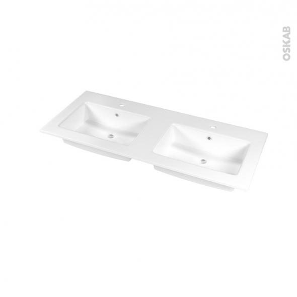 Plan double vasque - NAJA - Céramique blanche - Pour salle de bains - L120,5 x P50,5 cm