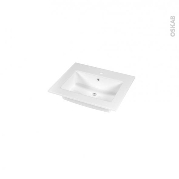 Plan vasque - NAJA - Céramique blanche - Pour salle de bains - L60,5 x P50,5 cm