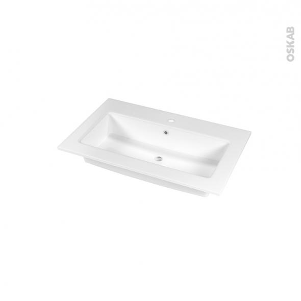 Plan vasque - NAJA - Céramique blanche - Pour salle de bains - L80,5 x P50,5 cm