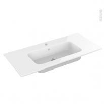 Plan vasque - REZO - Résine blanche - Pour salle de bains - L100,5 x P50,5 cm