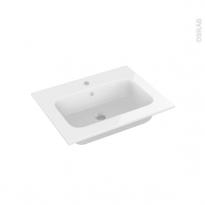 Plan vasque - REZO - Résine blanche - Pour salle de bains - L60,5 x P50,5 cm