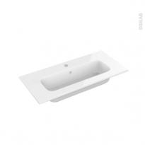 Plan vasque - REZO - Résine blanche - Pour salle de bains - L80,5 x P40,5 cm