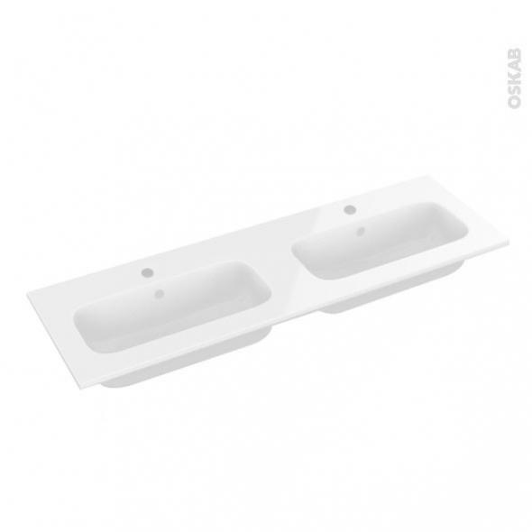 Plan double vasque REZO - Résine blanche - L120,5xP40,5