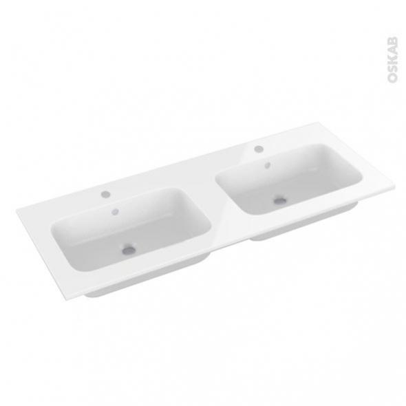 Plan double vasque - REZO - Résine blanche - Pour salle de bains - L120,5 x P50,5 cm