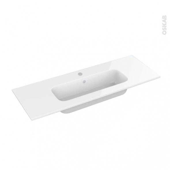 Plan vasque - REZO - Résine blanche - Pour salle de bains - L100,5 x P40,5 cm
