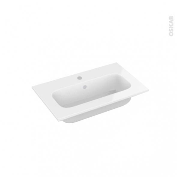 Plan vasque - REZO - Résine blanche - Pour salle de bains - L60,5 x P40,5 cm