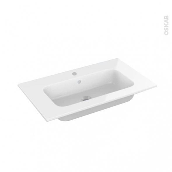 Plan vasque - REZO - Résine blanche - Pour salle de bains - L80,5 x P50,5 cm