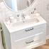 #Plan vasque - REZO - Résine blanche - Pour salle de bains - L80,5 x P40,5 cm
