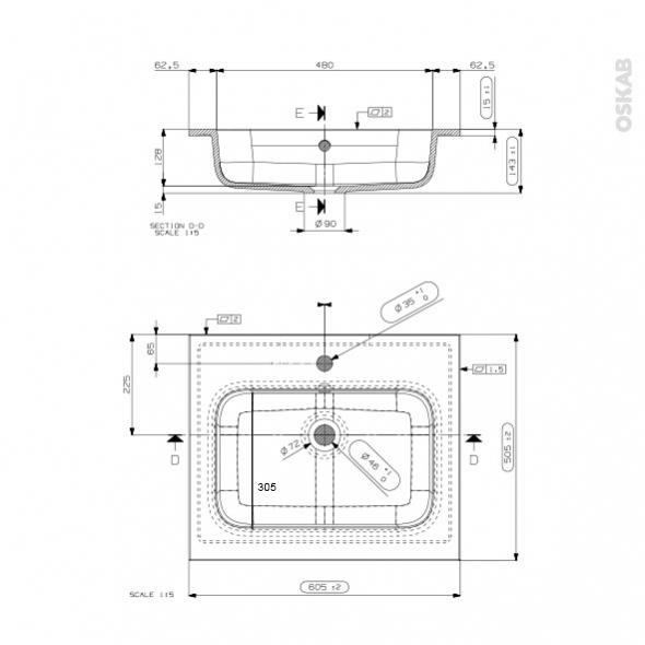 plan vasque rezo r sine blanche l60 5xp50 5 oskab. Black Bedroom Furniture Sets. Home Design Ideas