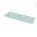 Plan double vasque - EGEE - Verre vert d'eau - Pour salle de bains - L120,5 x P40,5 cm