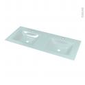 Plan double vasque - EGEE - Verre vert d'eau - Pour salle de bains - L120,5 x P50,5 cm