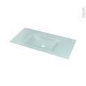 Plan vasque - EGEE - Verre vert d'eau - Pour salle de bains - L100,5 x P50,5 cm