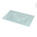 Plan vasque - EGEE - Verre vert d'eau - Pour salle de bains - L80,5 x P50,5 cm