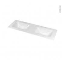 Plan double vasque - VALA - Verre blanc - Pour salle de bains - L120,5 x P40,5 cm