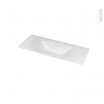 Plan vasque - VALA - Verre blanc - Pour salle de bains - L100,5 x P40,5 cm