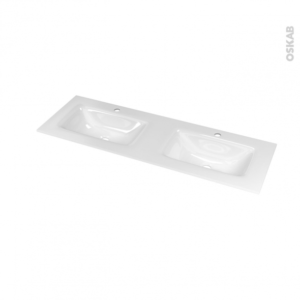 Plan double vasque VALA - Verre blanc - L120,5xP40,5