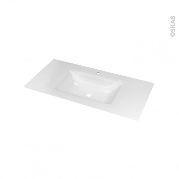 Plan vasque - VALA - Verre blanc - Pour salle de bains - L100,5 x P50,5 cm