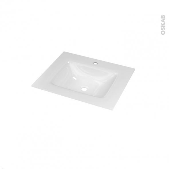 Plan vasque - VALA - Verre blanc - Pour salle de bains - L60,5 x P50,5 cm
