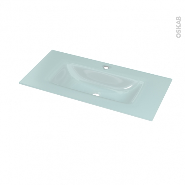 Plan vasque - EGEE - Verre vert d'eau - Pour salle de bains - L80,5 x P40,5 cm