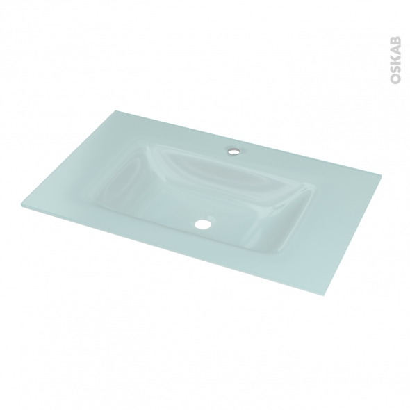 Plan Vasque Egee Verre Vert D 39 Eau Pour Salle De Bains L80