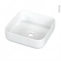 Vasque salle de bains - HORYS - A poser - Céramique blanche brillante - Carrée