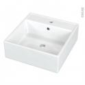 Vasque salle de bains - NALIS - A poser - Céramique blanche brillante - Carrée