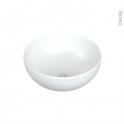 Vasque salle de bains - NUTA - A poser - Céramique blanche satinée - Ronde
