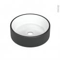 Vasque salle de bains - ONDIS - A poser - Céramique noire et blanche - Ronde