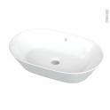 Vasque salle de bains - VELLYS - A poser - Céramique blanche brillante - Ovale