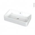 Vasque salle de bains - MERI - A poser - Céramique blanche brillante - Rectangulaire