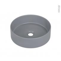 Vasque salle de bains - LIVA - A poser - Céramique grise satinée - Ronde