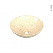 Vasque salle de bains - NELYA - A poser - Pierre de rivière beige - Ronde