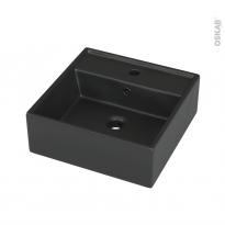 Vasque salle de bains - NOGE - A poser - Céramique noire satinée - Carrée