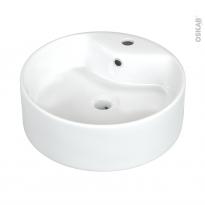 Vasque salle de bains - PERIA - A poser - Céramique blanche brillante - Ronde