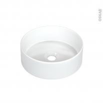 Vasque salle de bains - RANGO - A poser - Céramique blanche brillante - Ronde - ALLIBERT