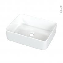 Vasque salle de bains - TEZZA - A poser - Céramique blanche brillante - Rectangulaire - ALLIBERT
