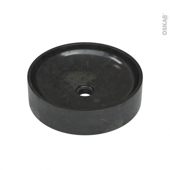 Vasque salle de bains - PARVOS - A poser - Marbre noir - Ronde