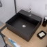 #Vasque salle de bains - NOGE - A poser - Céramique noire satinée - Carrée