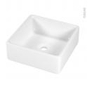 Vasque salle de bains - CERATO - A poser - Céramique blanche - Carrée