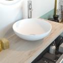 Vasque salle de bains - JAVA - A poser - Résine blanche mate - Bol