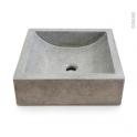 Vasque LUDWIG - Terrazzo - Gris béton - Carrée - A poser