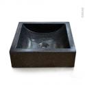Vasque LUDWIG - Terrazzo - Noir - Carrée - A poser